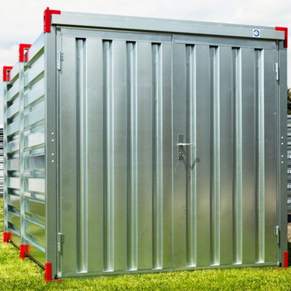 3m Lagercontainer - Baucontainer mit Doppelflügeltür