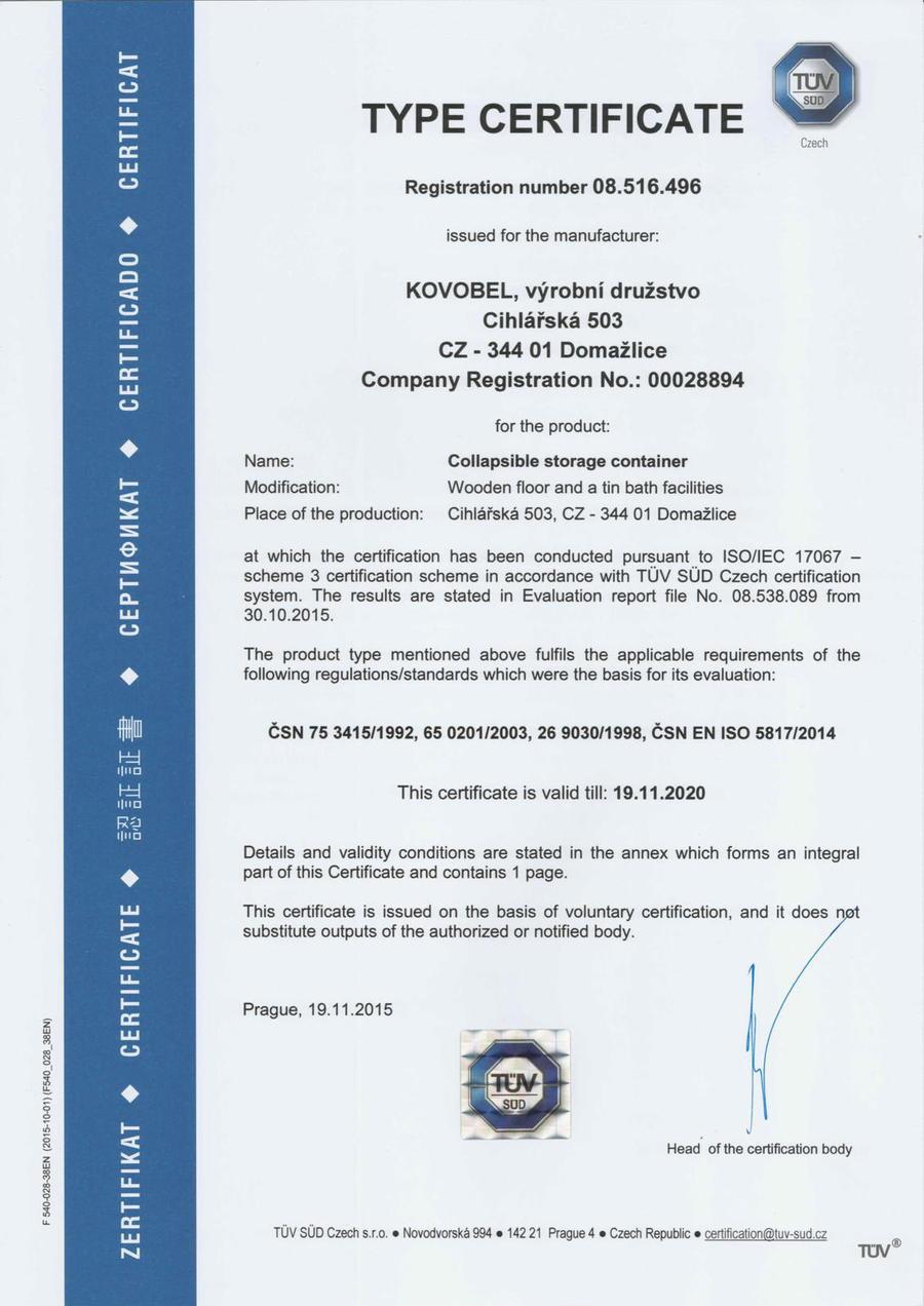 Tuev-Certifikat-Lagercontainer