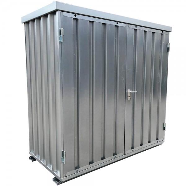 1m Baucontainer mit Doppelflügeltür, Kranösen und Staplerführung 2,1 x 1,1m