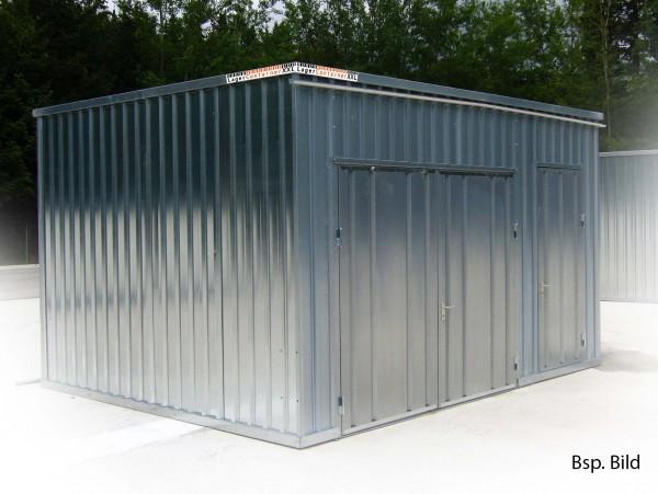 22m² Blechhalle mit Einflügeltür inkl. Bodeneinheit 4x5x2m