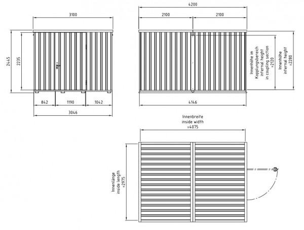 Leichtbauhalle 2,40 Meter Hoch - 12 m² bis 33 m²